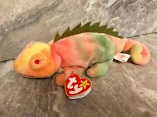 TY Beanie Baby RAINBOW w/ Iggy TAG ERRORS! Rare PVC VIBRANT COLORS! Collectors