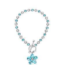 Swarovski Element Crystal Sparkly Silver Blue Flower Charm Tennis Bracelet Gift