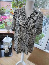 Ladies BONMARCHE black&beige short sleeve blouse size 14