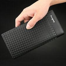 Men's Leather Bifold Long Wallet ID Card Holder Billfold Clutch Purse Zip Pocket