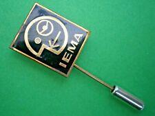 F61*) Vintage IEMA  I E M A Logo Monogram enamel tie lapel pin badge