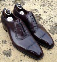 Chaussures à lacets en cuir véritable marron chocolat pour hommes faits à la mai