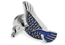 Duck Pair Cufflinks Blue Silver Hunter Wedding Fancy Gift Box & Polishing Cloth