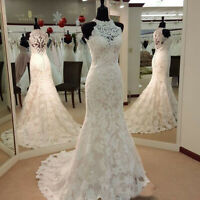 Real Images Vintage Full Lace Mermaid Wedding Dresses High Neck Bridal Gowns