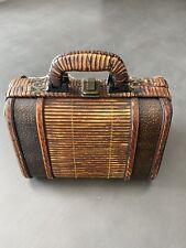 Vintage Wood WICKER Purse Bag  Embossed DESIGN on Metal + Wicker Wrapped Handles