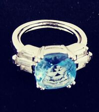 Fashion Ring Signed Nv Size 7 Vintage Faux Blue Topaz Cushion Cut Silver