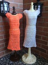 Handmade Crochet Salmon And White Barbie Dresses