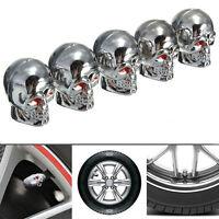 4Pcs Red Eyes Evil Skull Tyre Tire Air Valve Stem Dust Caps For Car Bike Truck
