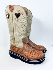 ARIAT Brown Suede Embossed Gator Buckaroo Studded Cowboy Boots Womens Size 6.5 B