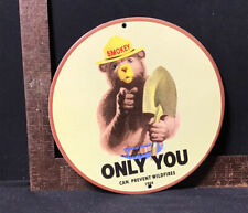"""VINTAGE 1954 SMOKEY THE BEAR PORCELAIN SIGN! """"ONLY YOU CAN PREVENT WILDFIRES"""""""