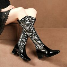 Patent Leather Square Toe Side Zip Ladies Mid Calf Knee High Boots Sequins Shoes