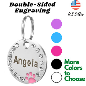 Buy 4 Get 1 Free √ Sparkling Cute Cat Dog Tag Pet Dog Tags Engrave Personalize