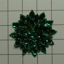 EMERALD GREEN  SEQUIN BEADED FLOWER APPLIQUE  2698-A