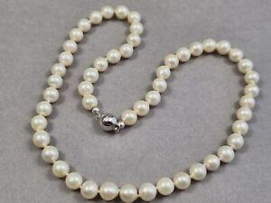 Perlen Silber Collier Halskette mit 925 Sterling Silber Magnet Verschluss