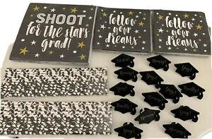 Graduation Party Supplies Black Cupcake Napkins Paper Straws Black White