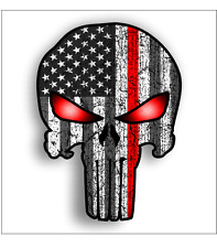 Red Thin Line Punisher Skull USA Flag Car Truck Bumper Sticker Vinyl Decal