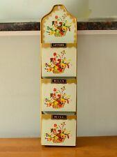 Vintage Tin Flower & Fruit Basket  3 Pocket Letters-Bills-Misc
