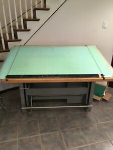 Vintage Mayline May-O-Matic Drafting Table Desk  Combo w/Accessories