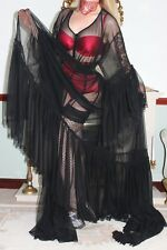 Dominatrix roleplay black sheer nylon mesh robe with the trail  size XXXL