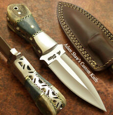 Adam Shaw's CUSTOM MADE FULL TANG BOOT KNIFE DAGGER  STAG ANTLER HANDLE