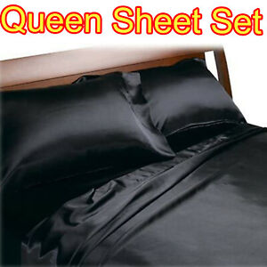 BLACK QUEEN SIZE SATIN SHEETS 4PC SET SILK FEEL BEDDING LUXURY BED COMFORT NEW