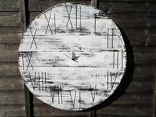 Huge 70cm Round Board Handmade Rustic White Wood Shabby Chic Vintage Wall Clock