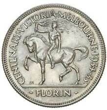 1934-35 Melbourne Centenary Silver Florin KM# 33 NGC UNC Details
