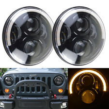 "Black 7"" CREE Round LED Halo Headlights High Low Beam For Jeep Wrangler JK TJ CJ"