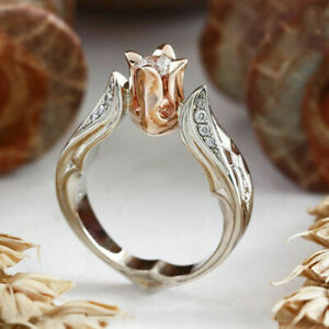 Exquisite Rose Gold Rose Floral Ring 925 Silver Flower Wedding Jewelry Size 6-10