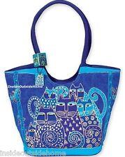 Laurel Burch Indigo Cats Large Hobo Scoop Shoulder Tote Bag Russian Blue New