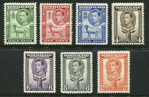 1938 Somaliland Protectorate.  Part set of 7 stamps MLH.  SG 93/94 & 96/100.