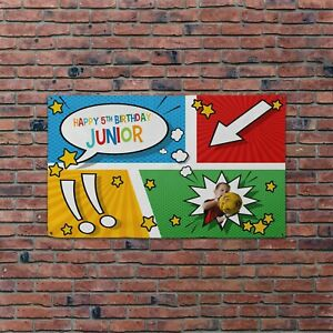 Large Personalised Happy Birthday Photo Colour Comic 5x3ft Banner