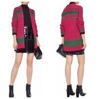 Maje Womens 3 Large Meditatio Intarsia Knit Cardigan Sweater L New