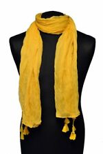 Damen Schal und Tuch Damenschal Halstuch Wrap Einfarbig mit Bommeln in Gelb