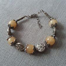 Women-girls- Tibetan 925 Silver Charm Bracelet-Calcite Yellow- New