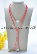 Z9385 20mm Pink Coral Bead White Baroque Keshi Pearl Necklace 40inch