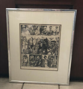 """VINTAGE ELEANOR RAPPE  INK PRINT """"Life And Times Of André Gide""""  1968 Signed"""