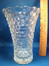 """COLONY Indiana Glass WHITEHALL 7 3/4"""" Stack Cube Style Vase Clear Glass @24"""