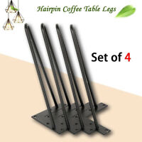 "14"" 18"" 28"" Hairpin Table Legs Set of 4 Metal Solid Iron 2 Rod Black Heavy Duty"