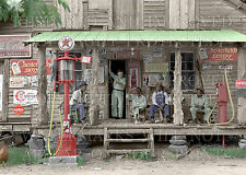11x14 photo print country store gas filling station pumps NC 1939 color or sepia