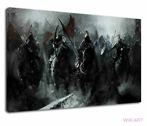 Medieval Knights On Horseback At War Concept Art Canvas Wall Art Picture Print