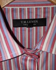 T M LEWIN Ladies Formal Shirt Size 8 Blue Pink White stripe Fitted Long Sleeves