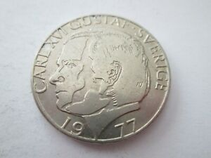 1977 Sweden 1 Krona King Carl XVI Gustaf Coin -Free Postage