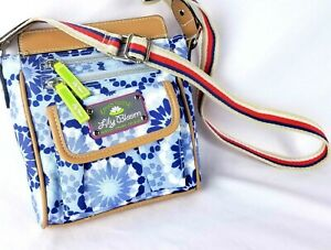 Lily Bloom Crossbody Purse Shoulder Bag Eco Recycled Blue Floral Green Living