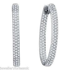 18Carat White Gold Diamond Pave Set Hoop Earrings 2.00 carats HSI Hallmarked