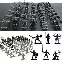 60pcs Silver Medieval Knights Warriors Kids Boys Toy Soldiers Figure Models