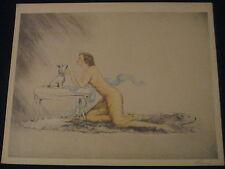 RARE BOUDOIR ARTPRINT BY CHANEL SEXY NUDE WOMAN ON BEAR RUG W DOG 1934 GUAR OLD
