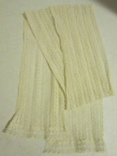 "Vintage 1950's ladies lovely beige nylon lace scarf or ascot 5.5"" x 48 EC"
