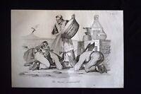 Incisione d'allegoria e satira Pio IX, Ferdinando II, Italia Don Pirlone 1851