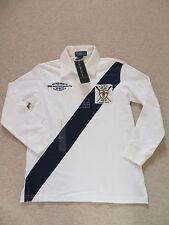 BNWT Boys Ralph Lauren 100% Cotton White Blue Stripe Rugby Shirt Top Age 7